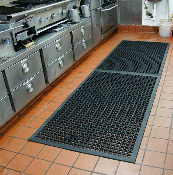 attractive Commercial Restaurant Kitchen Mats #1: Rubber Kitchen Mat With Drainage Holes